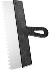Шпатель зубчатый 200мм зуб 10х10мм СИБРТЕХ нержавеющая сталь, пластмассовая рукоятка